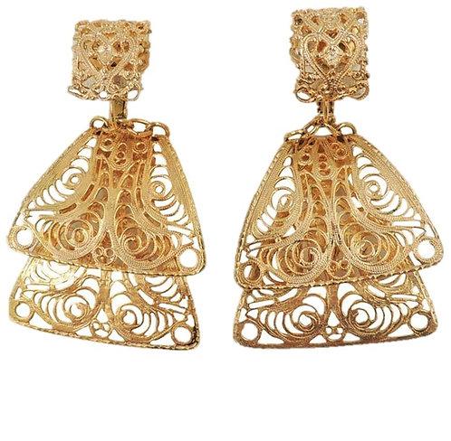 1970s Napier Goldtone Filigree Dangle Clip Earrings