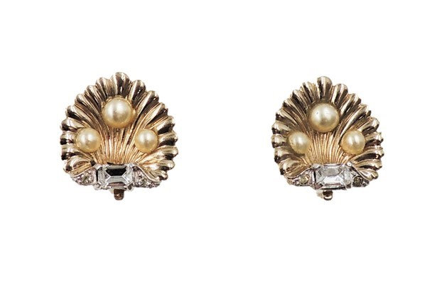 1950s Jomaz Goldtone Faux-Pearl & Clear Rhinestone Shell Earrings