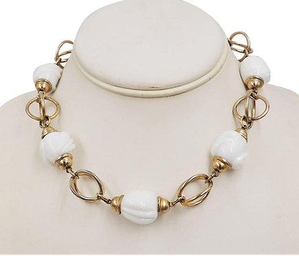 1950s Napier Modernist Goldtone & White Glass Necklace
