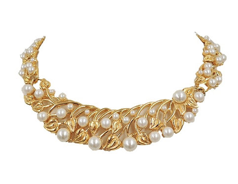 1980s Napier Goldtone Faux-Pearl Collar Necklace