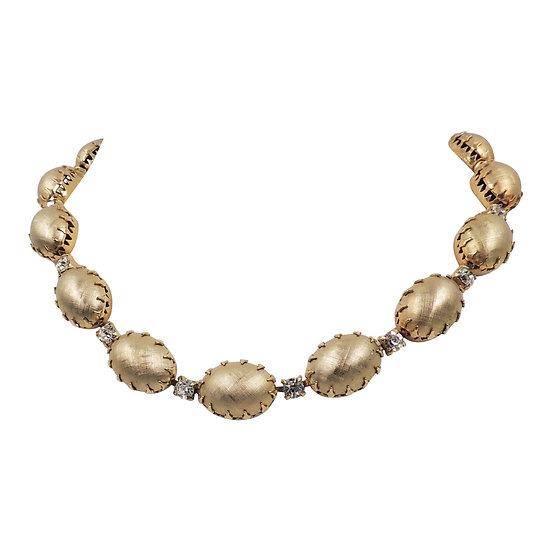 1950s Signed Napier Florentine Finish Rhinestone Collar Necklace