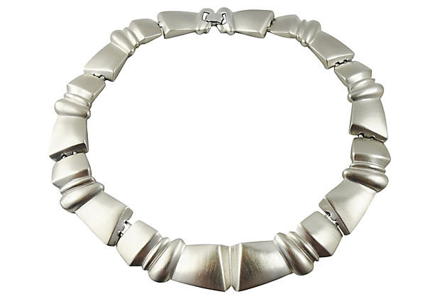 1980s Monet Silvertone Modernist Necklace