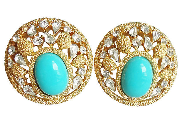 1960s Trifari Faux-Turquoise Rhinestone Cabochon Earrings