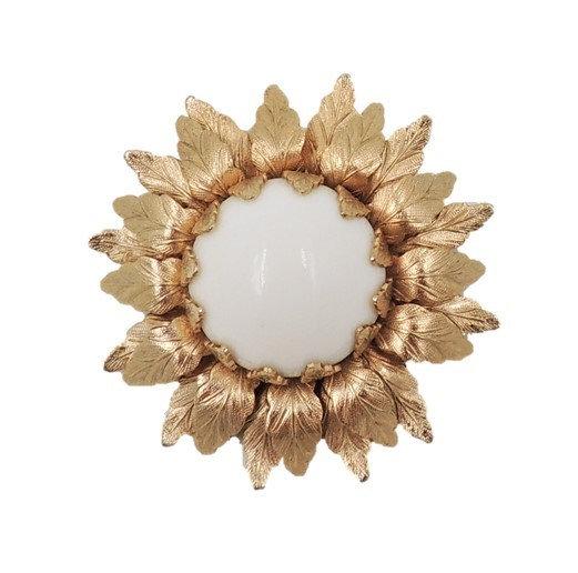 1960s Napier Goldtone White Cabochon Flower Brooch
