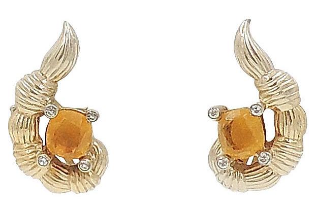 1950s Jomaz Faux-Citrine Rhinestone Earrings