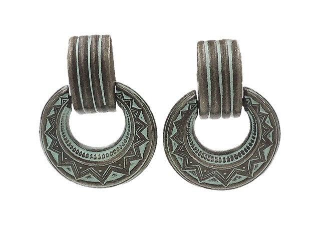 1980s Ben Amun Faux-Aged Hoop Earrings