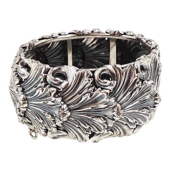 Napier Silvertone Leaves Wide Cuff Bracelet, 1968