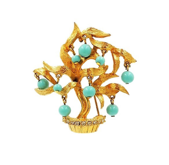 Pauline Rader Faux-Turquoise Tree Pin