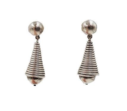 1950s Napier Silvertone Modernist Drop Earrings