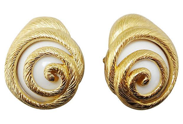 1980s Trifari White Lucite Shell Earrings