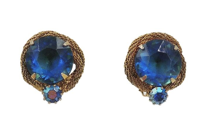 1960s Blue-Green Rhinestone Earrings