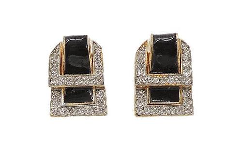 1980s Valentino Black Enamel Buckle Earrings