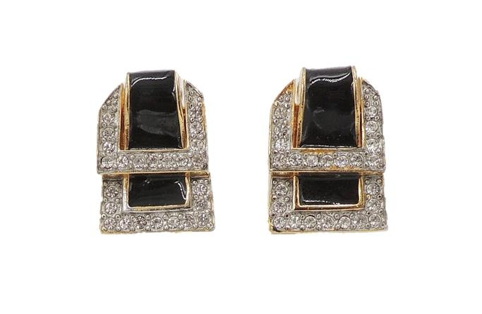 1980s Valentino Black Enamel Buckle Earrings