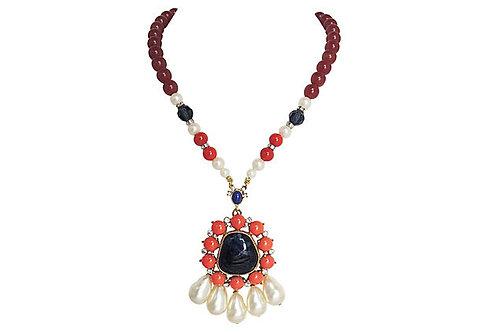 Gerard Yosca Faux-Baroque Pearl & Rhinestone Pendant Necklace