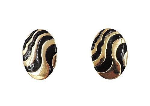 1980s Givenchy Zebra Striped Enamel Pierced Earrings