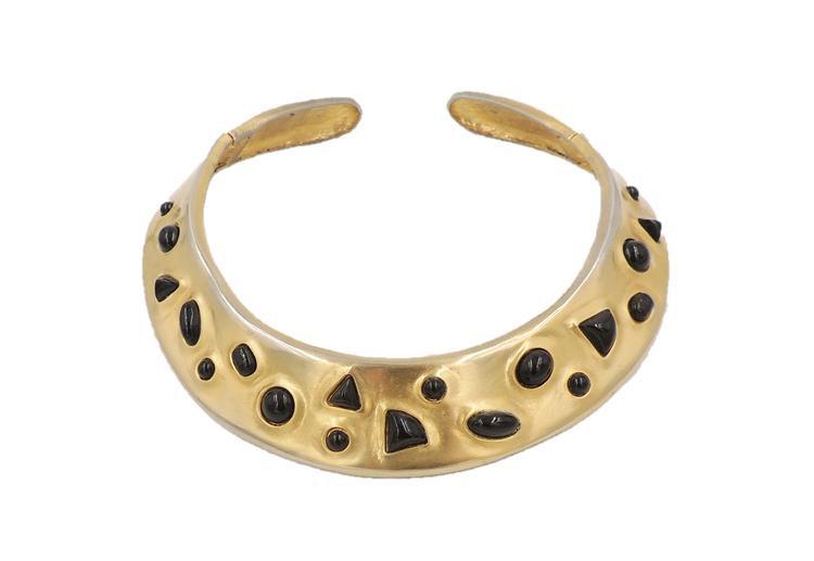1980s Les Bernard Faux-Onyx Cabochon Collar Necklace