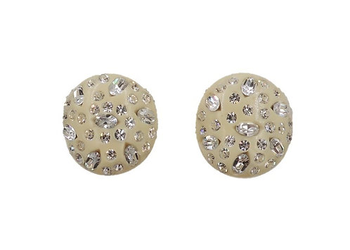 Weiss White Thermoset & Clear Rhinestone Clip Earrings