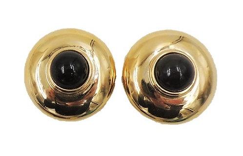 1980s Courreges Paris Goldtone Faux-Onyx Cabochon Earrings