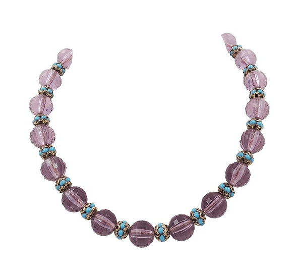 1960s Napier Book Piece Faceted Purple Bead & Faux-Turquoise Cabochon Necklace