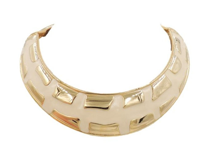1980s Valentino Modernist White Enamel Collar