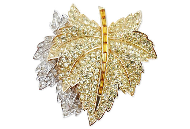 1960s Boucher Pave Leaf Pin