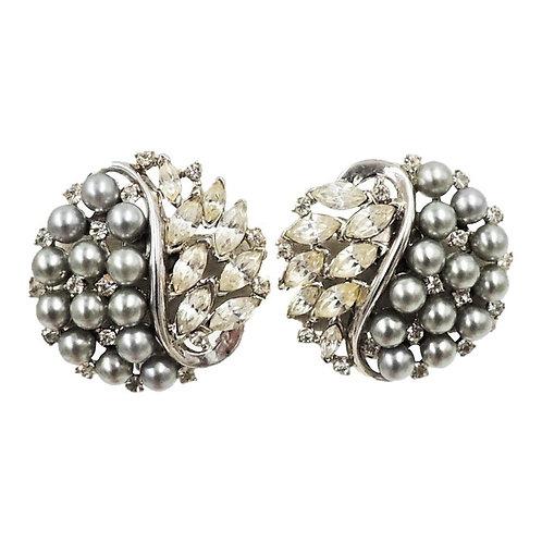 Early 1950s Trifari Faux-Black Pearl & Rhinestone Earrings