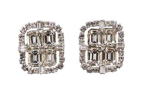 1960s Kramer Rhodium Plated Rhinestone Earrings