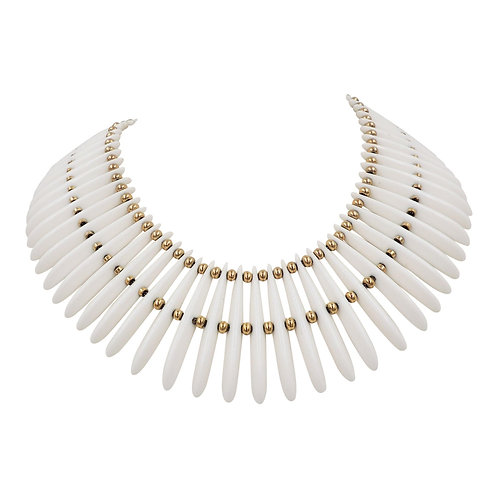 Monet Goldtone & White Lucite Wide Collar Necklace, 1974 Ad Piece