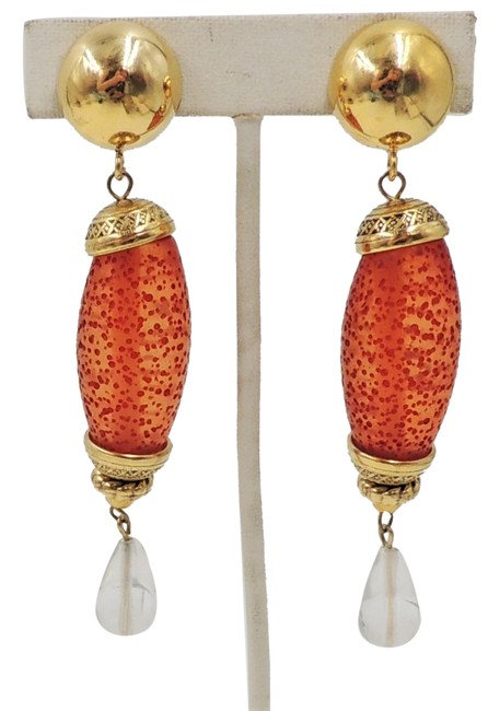 1980s Sharra Pagano Red & Clear Lucite Drop Clip Earrings