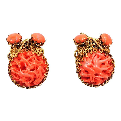 1960s Miriam Haskell Faux-Coral Earrings