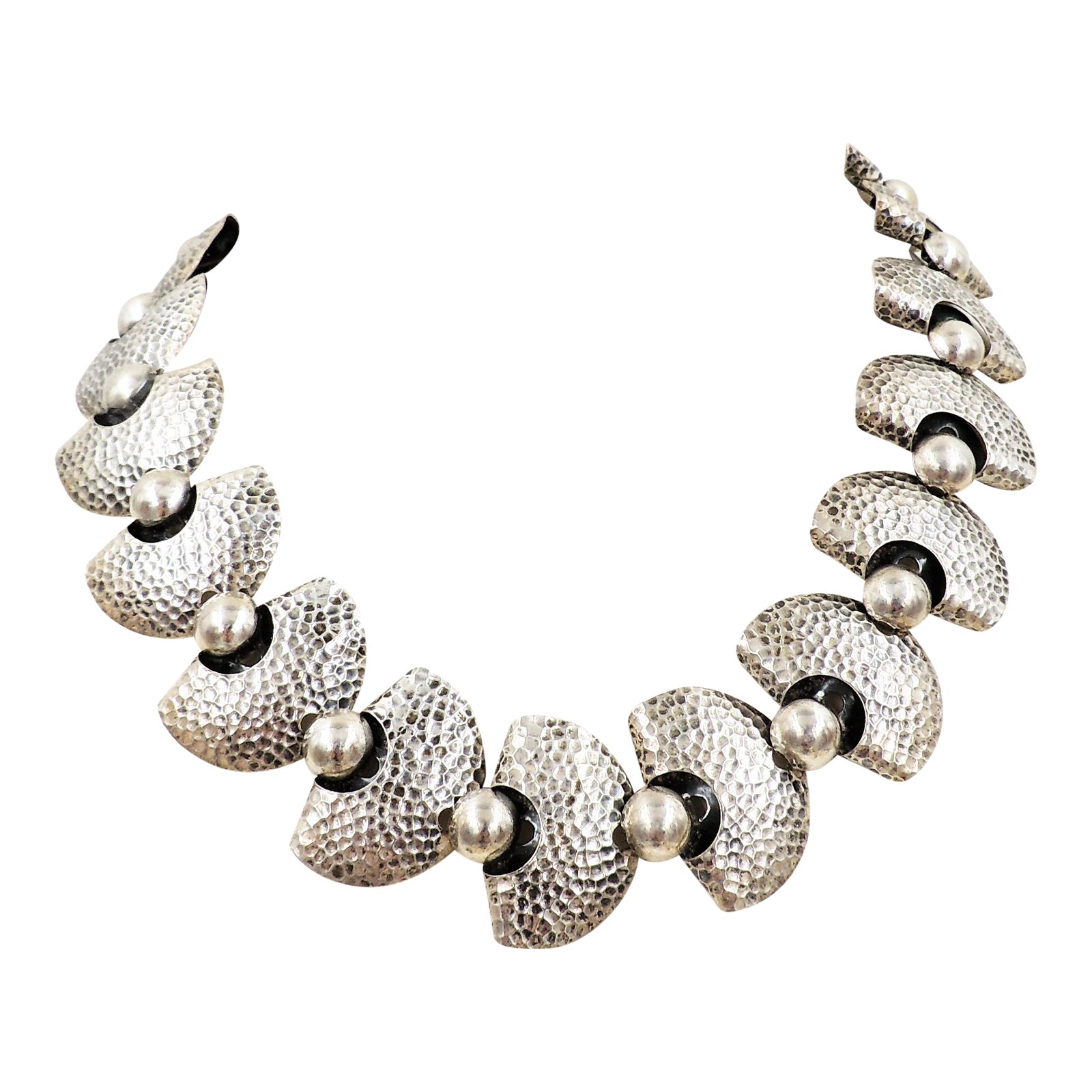 1950s Napier Modernist Silvertone Necklace
