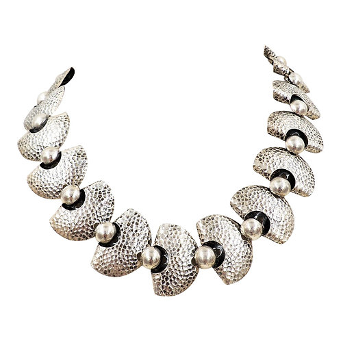1950s Napier Modernist Silvertone Necklace