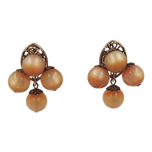 "Napier Book Piece Goldtone & ""Peach"" Moonglow Dangle Earrings, c1964"