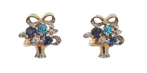 Circa 1940 Rhinestone Flower Basket Earrings