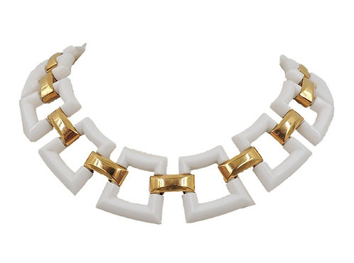 1970s Trifari White Lucite Link Necklace