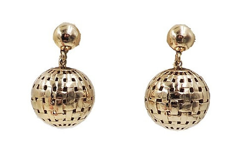 1953 Monet Goldtone Ad Piece Ball Pendant Clip Earrings