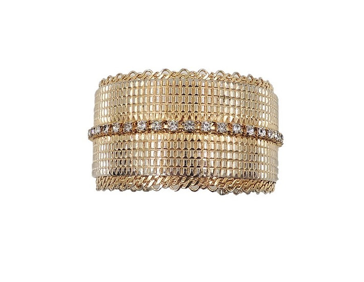 1960s Jewels by Julio Goldtone Rhinestone Cuff Bracelet