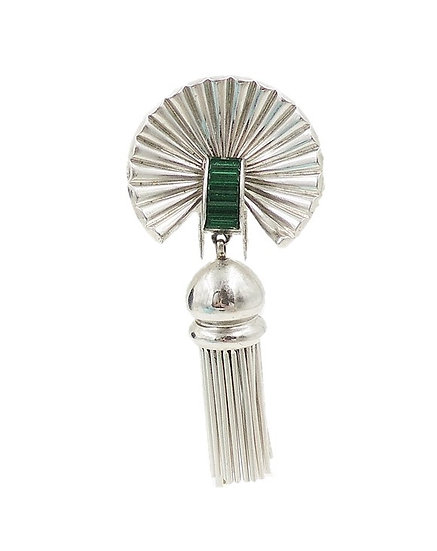 Kreisler Silvertone Faux-Emerald Tassel Fur Clip, Vogue Ad Piece 1946