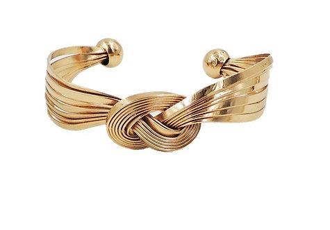 Napier Goldtone Knot Cuff Bracelet, 1957 Ad Piece