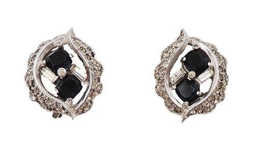 1960s Jomaz Rhodium Plated Faux-Sapphire & Clear Rhinestone Earrings