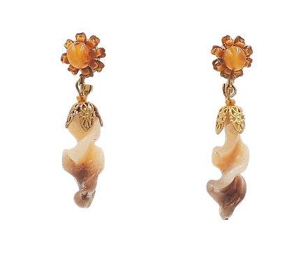 Vintage 1970s Glass Beaded Drop Earrings