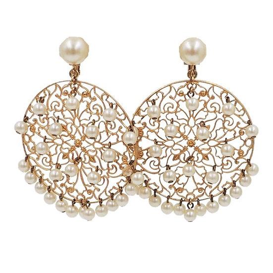 1970s Napier Goldtone & Faux-Pearl Earrings
