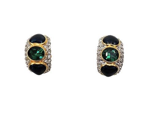 1980s Bijoux Cascio Italy Faux-Emerald & Blue Enamel Hearts Pave Earrings