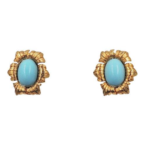 1950s Jomaz Goldtone Cabochon Faux-Turquoise Earrings