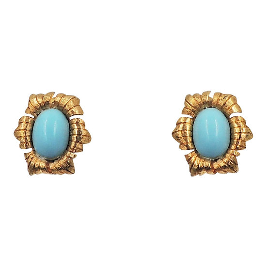 1950s Jomaz Goldtone Cabochon Faux-Turquoise Earrings