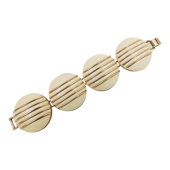 1950s Monet Goldtone & Ivory Colored Resin Bracelet