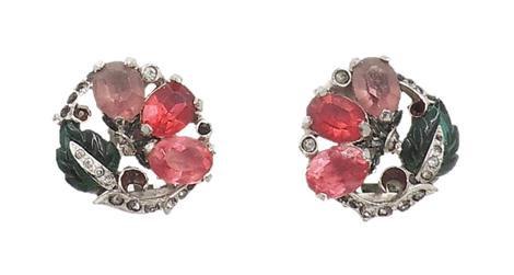 1930s Mazer Tutti Frutti Rhinestone & Enamel Earrings