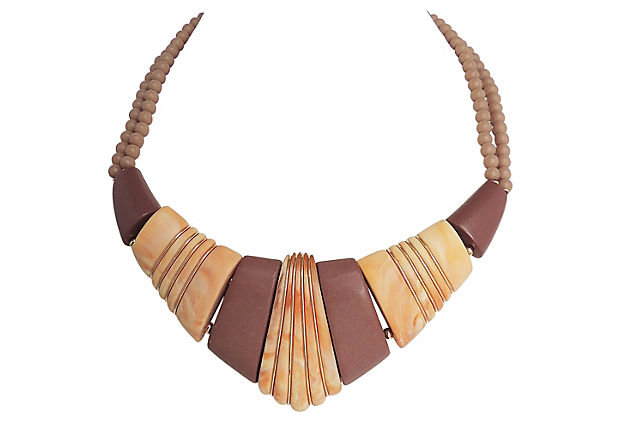 Napier Ad Piece Brown & Tan Lucite Necklace 1985