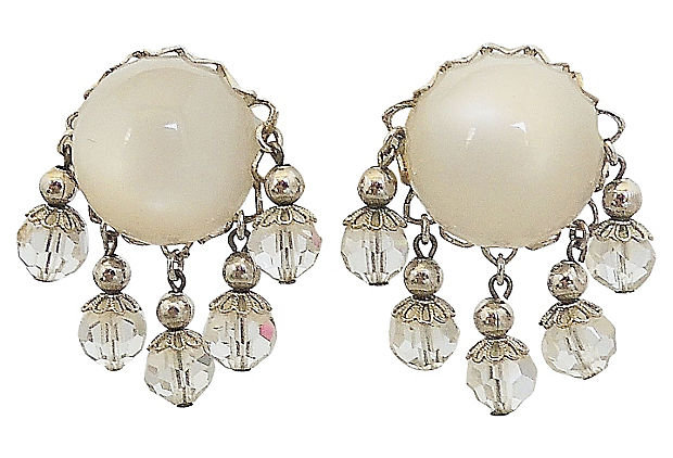 1950s Napier Faux-Moonstone Rhinestone Earrings