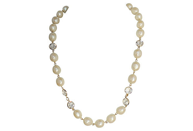 1980s Givenchy Simulated Pearl Sautoir Necklace